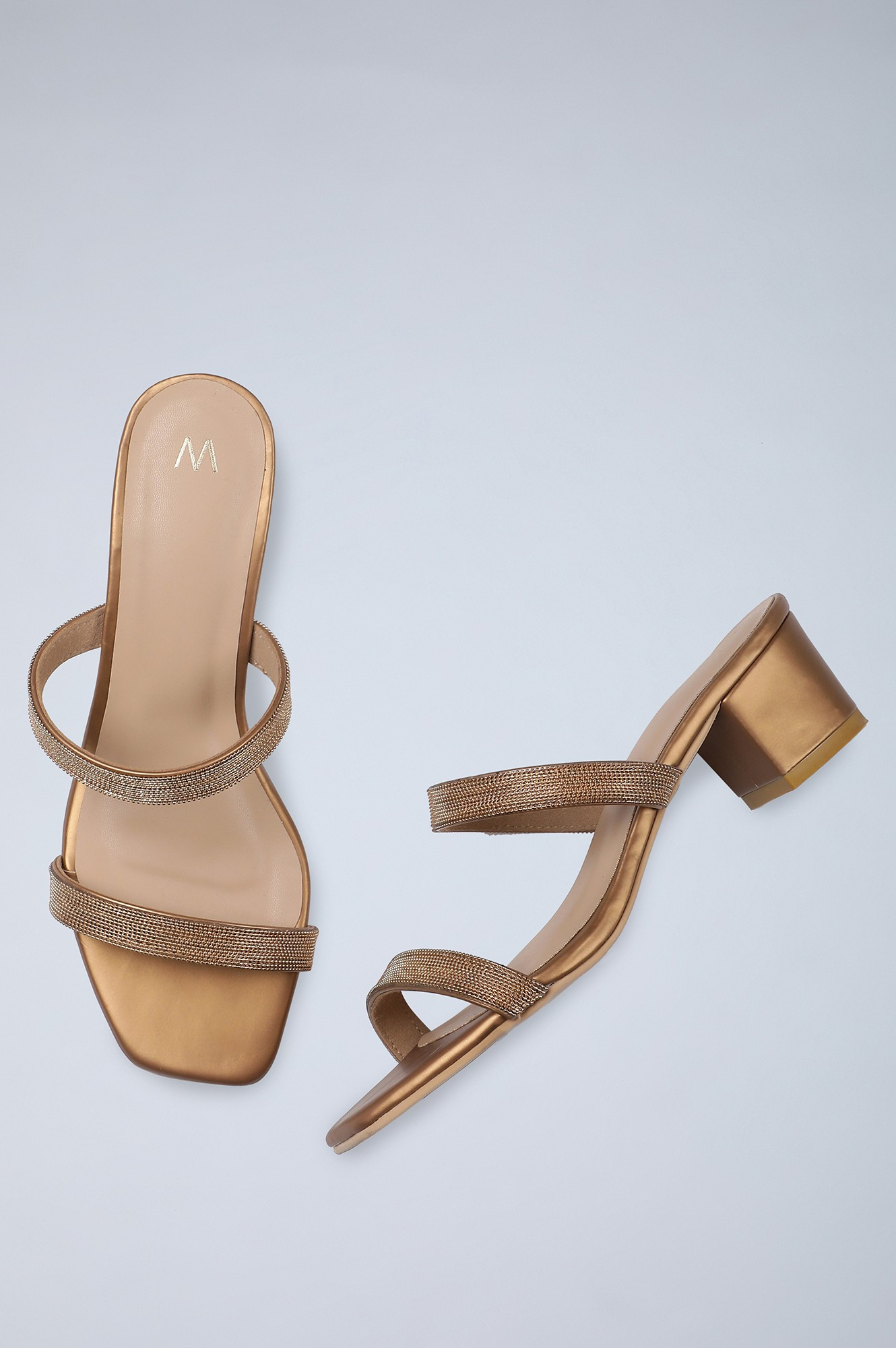 W | Square Toe Embellished Block Heel