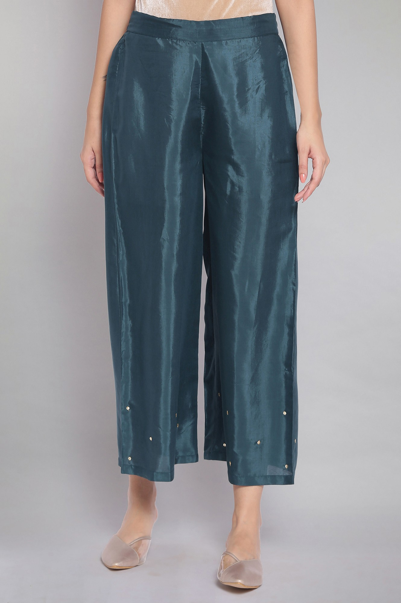 W   Wishful by W Green Sequinned Solid Parallel Pants
