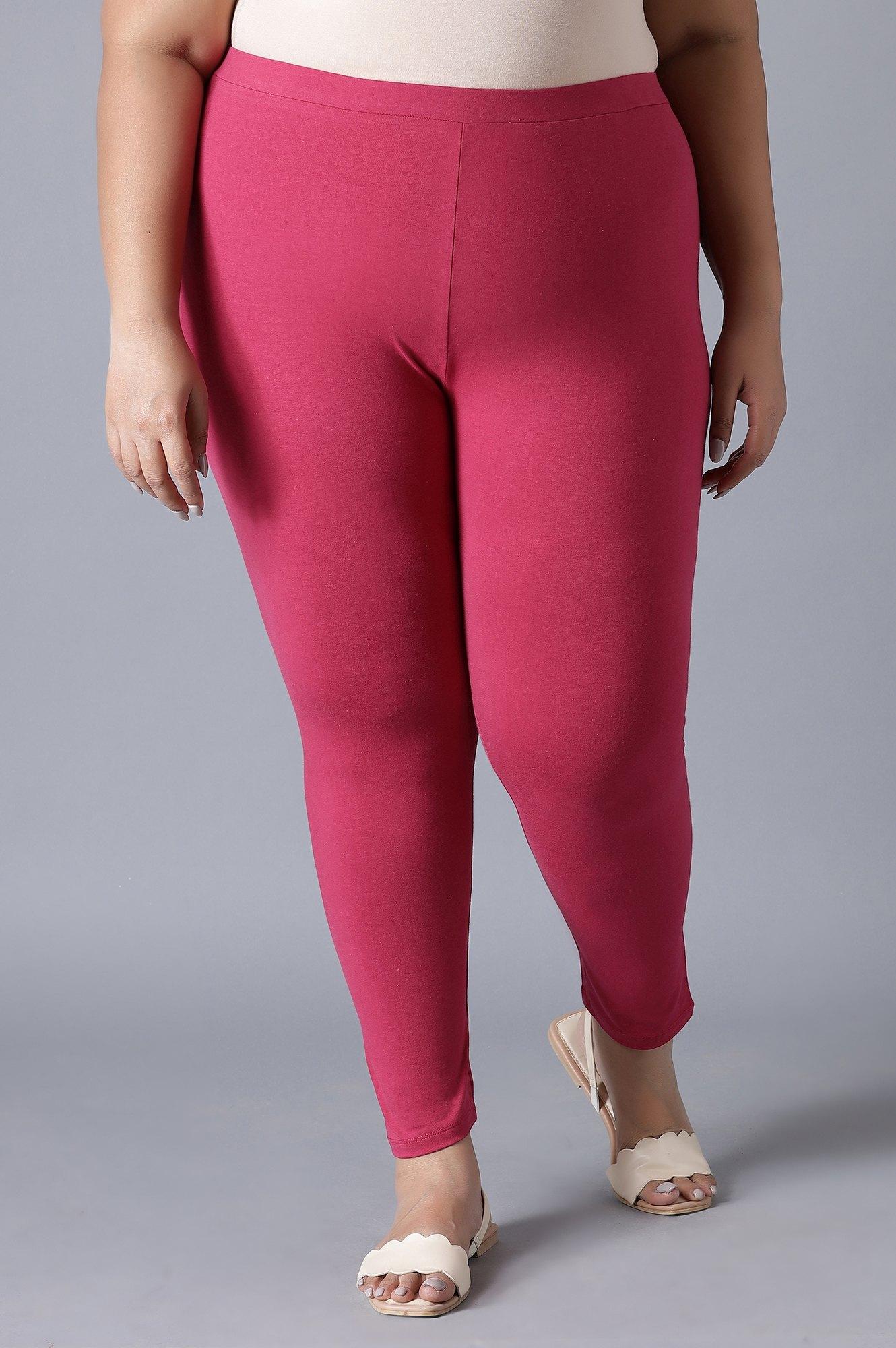 W   W Dark Pink Cotton Jersey Lycra Tights