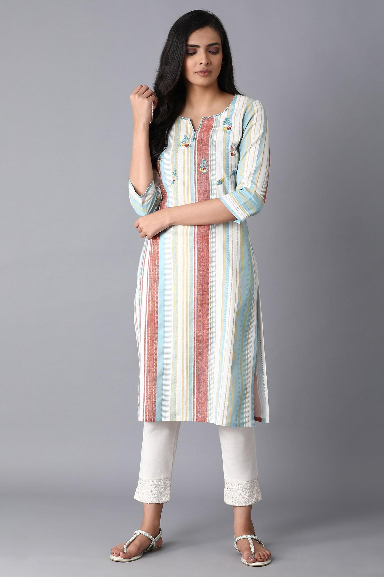 W | Multicolored Stripe Print Kurta