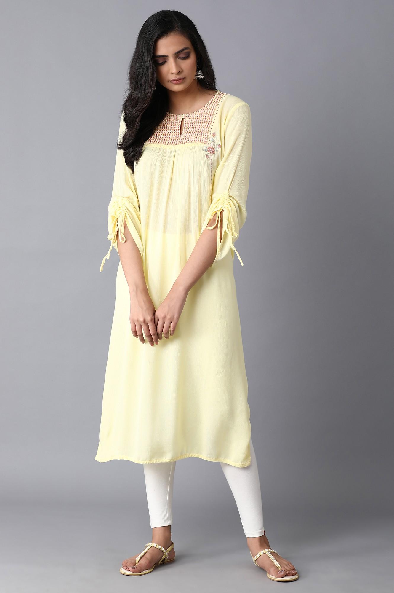 W | Lemon Yellow Straight Kurta