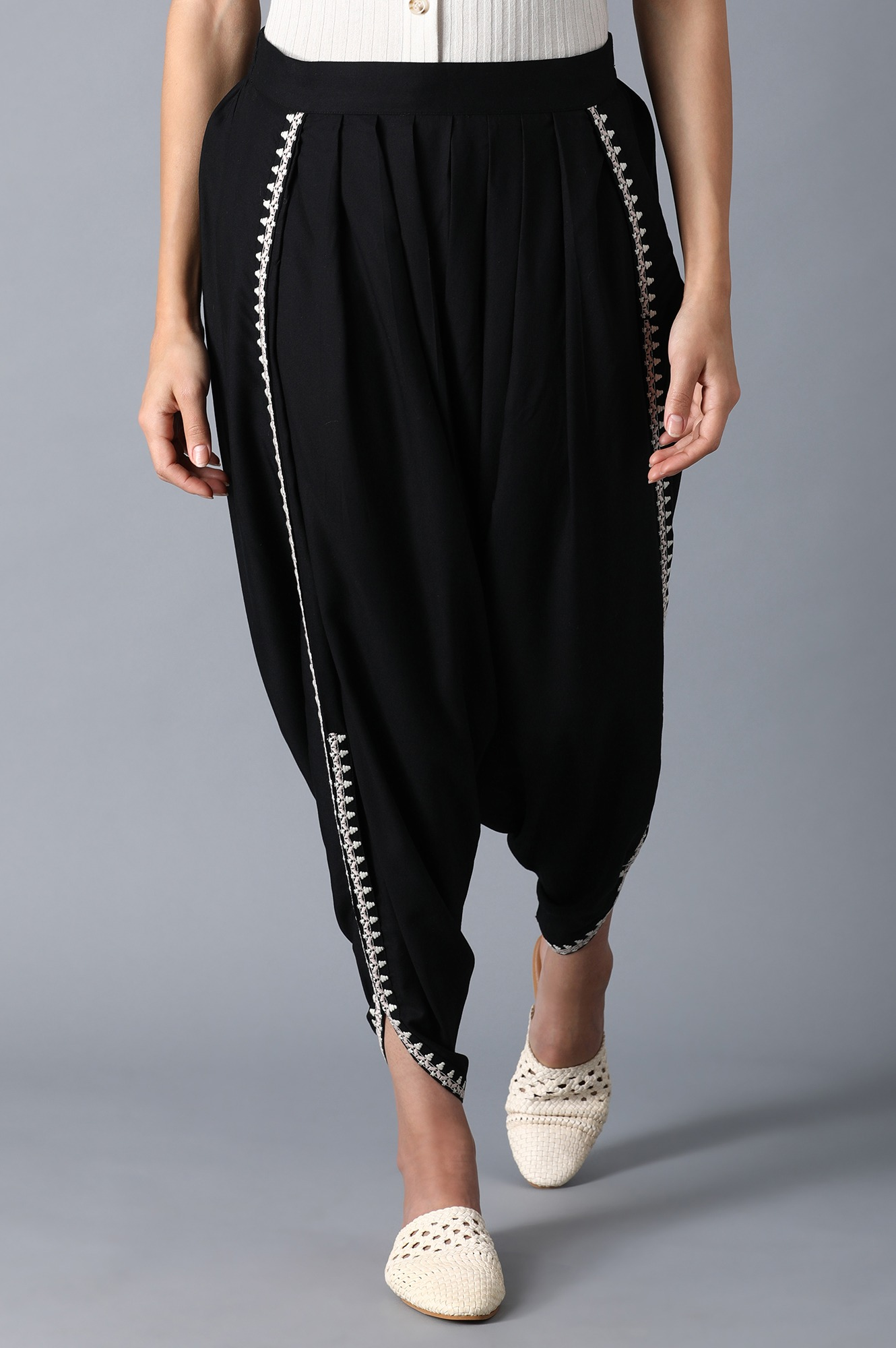 W | Black Embroidered Draped Pants