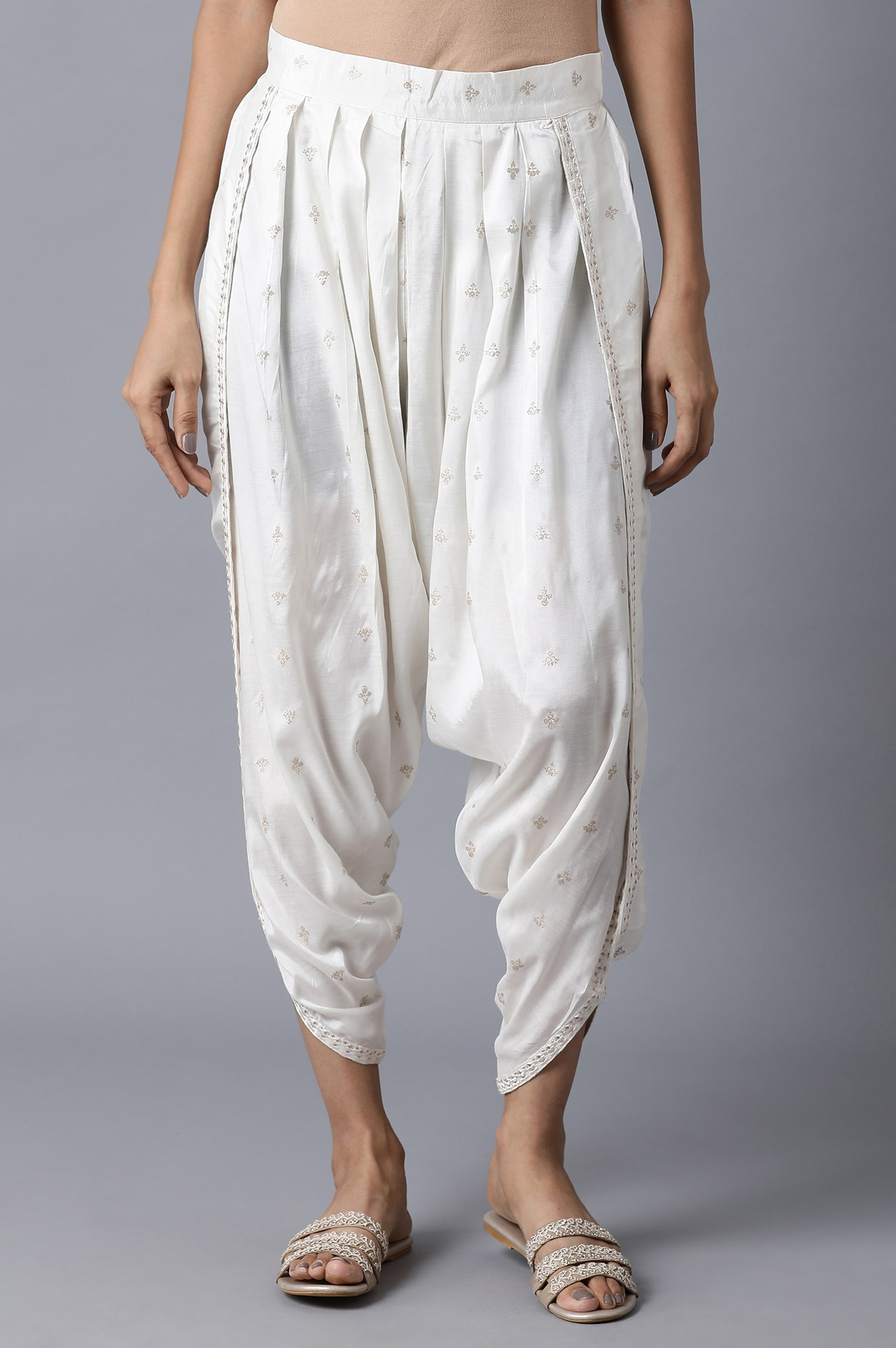 W   Ecru Printed Shantung Draped Pants