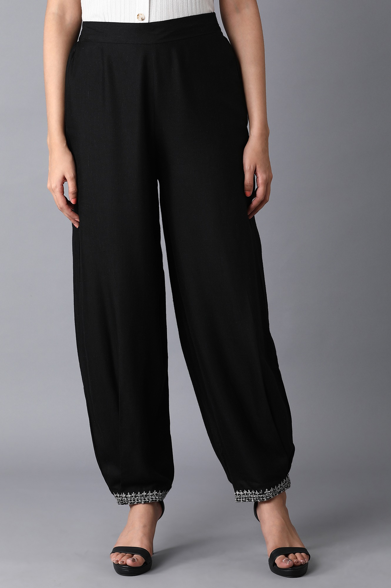 W | Jet Black Embroidered Carrot Pants
