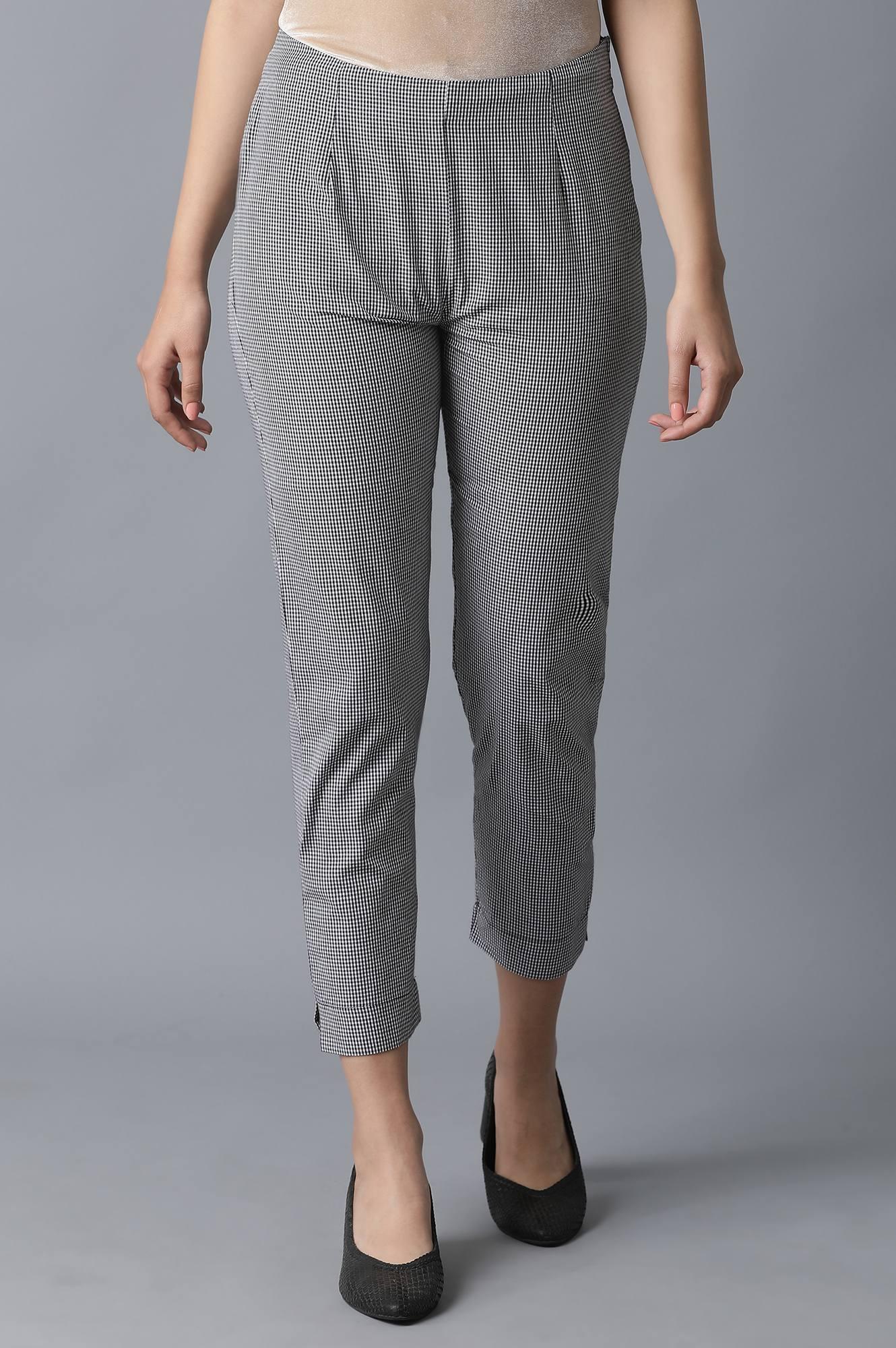 W | Grey Stipped Slim Pants