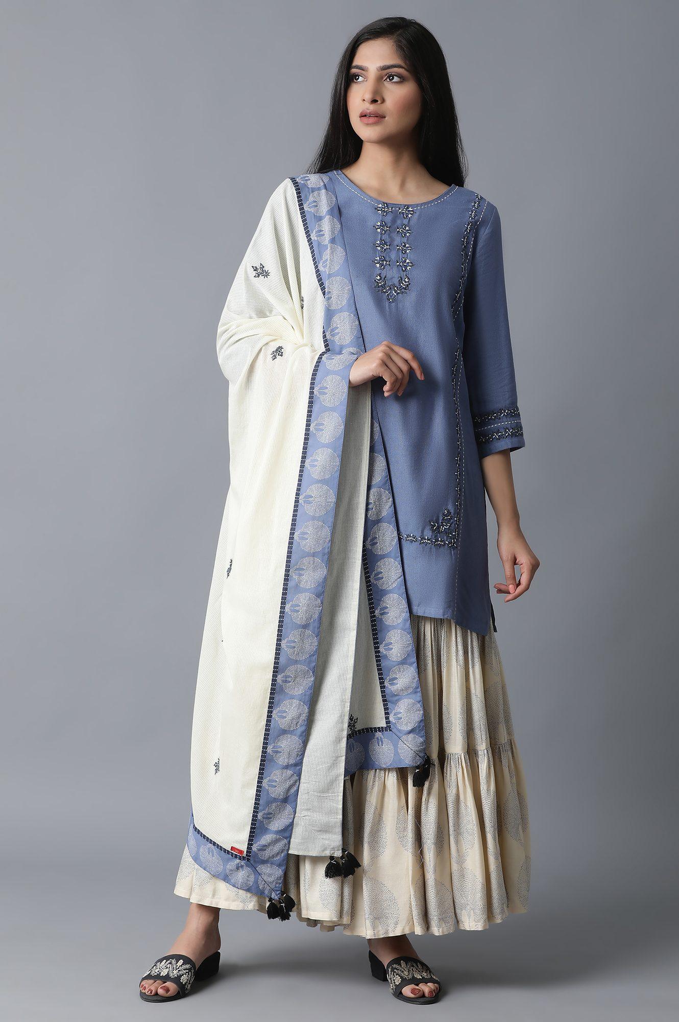 W | Blue Kurta-Printed Sharara-Drape Set