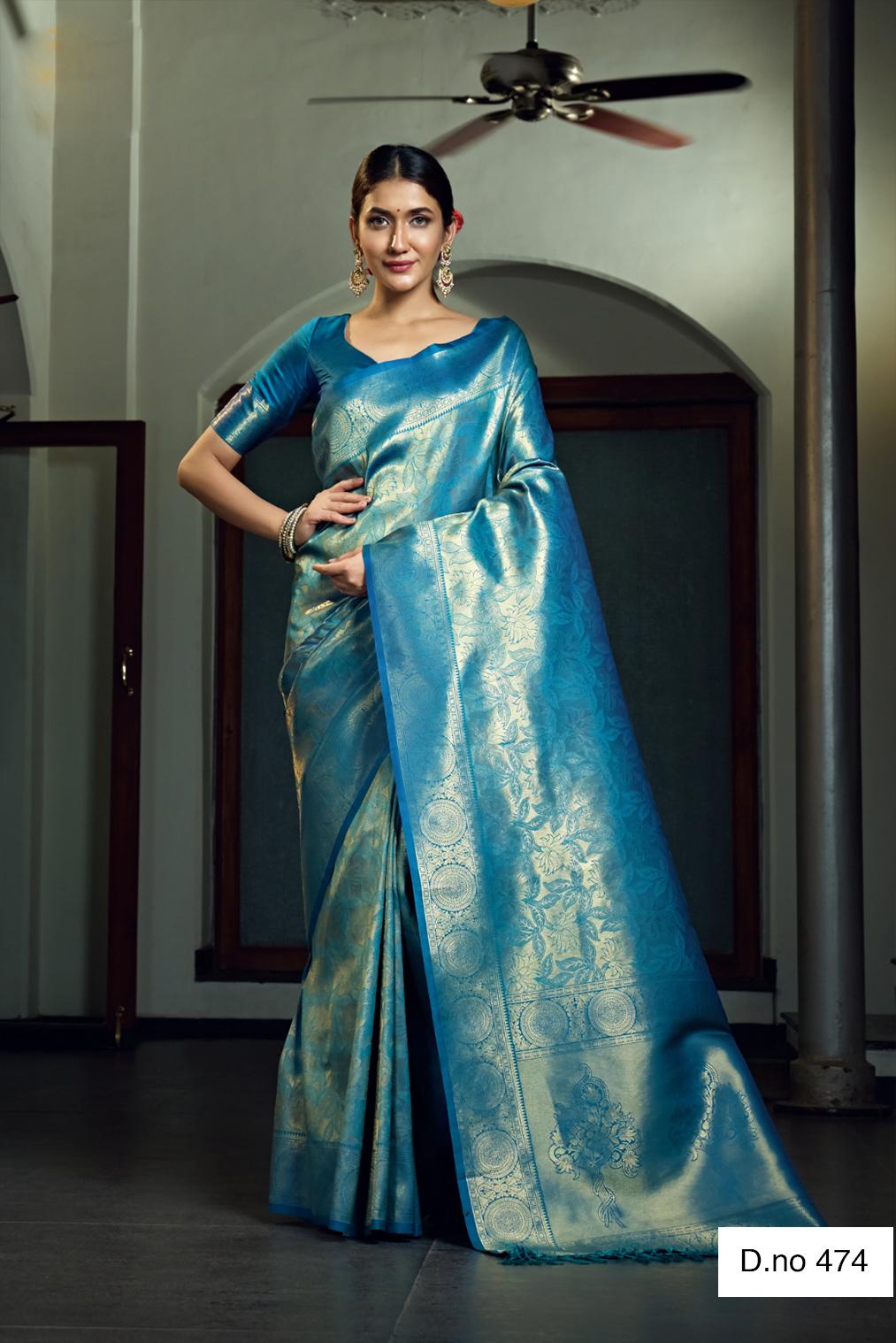 POONAM TEXTILE   Traditional Blue Woven Design Raw Silk Saree
