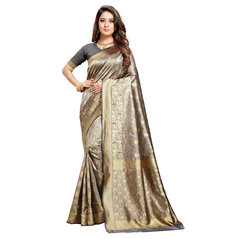 POONAM TEXTILE   Banarasi Grey Jacquard Silk Woven Zari Saree
