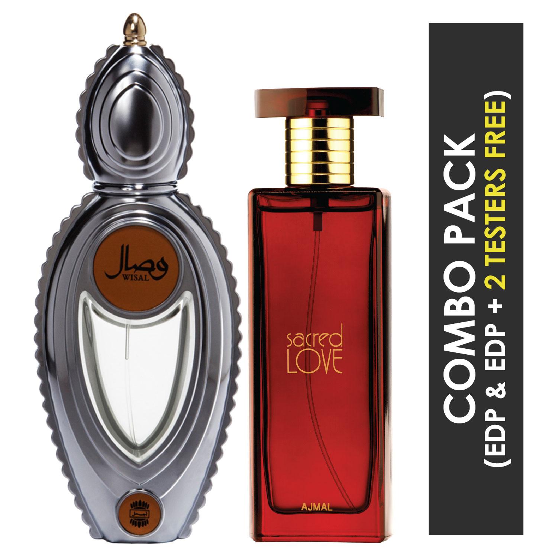 Ajmal | Ajmal  Wisal EDP Floral Musky Perfume 50ml for Women and Sacred Love EDP Floral Musky Perfume 50ml for Women + 2 Parfum Testers FREE