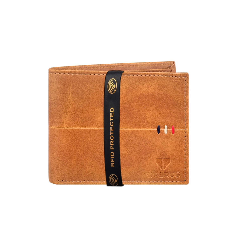 Walrus | Walrus Daniel Beige Vegan Leather Men Wallet With RFID Protection.