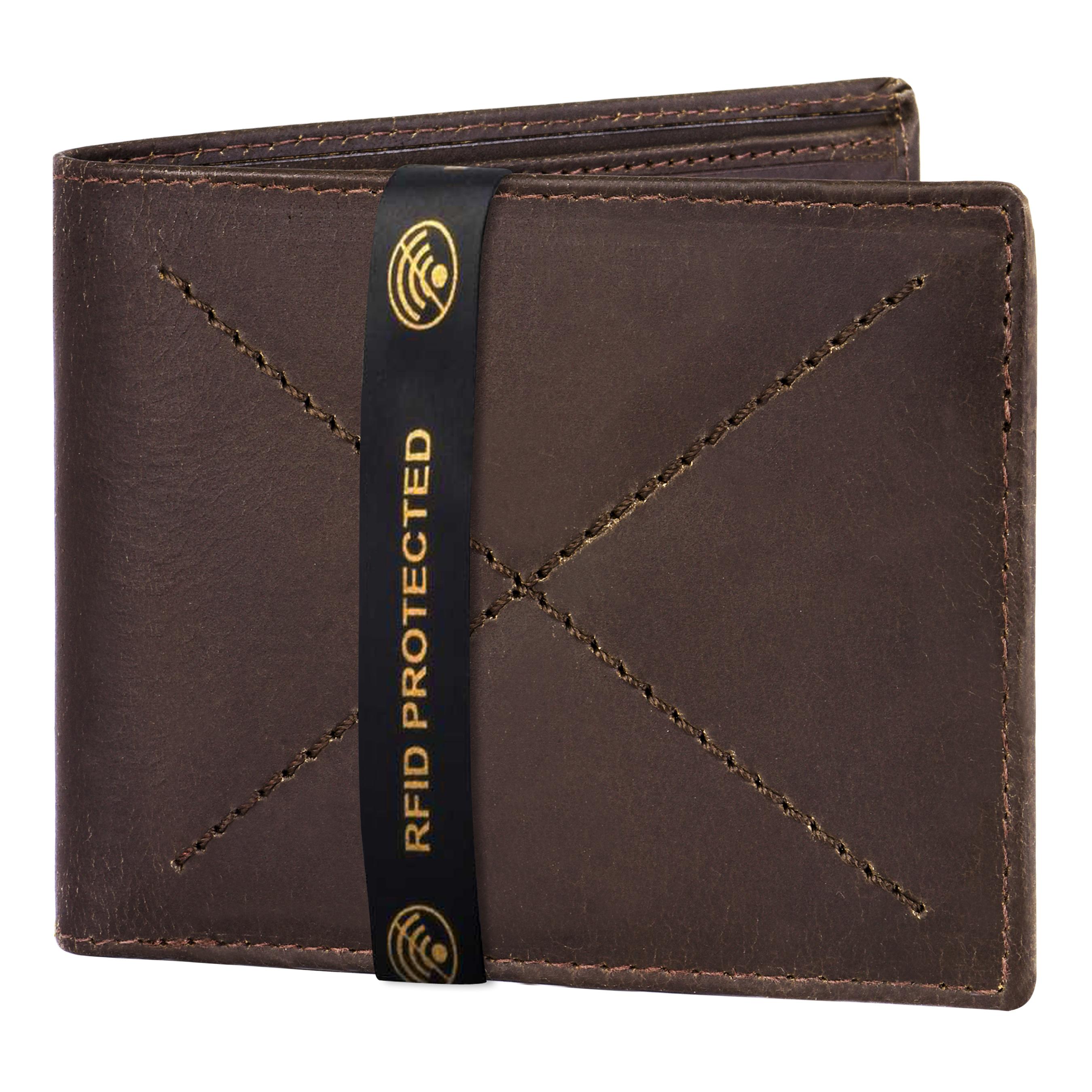 Walrus | Walrus Elite II Brown Premium Genuine Leather Men Wallet With RFID Protection.
