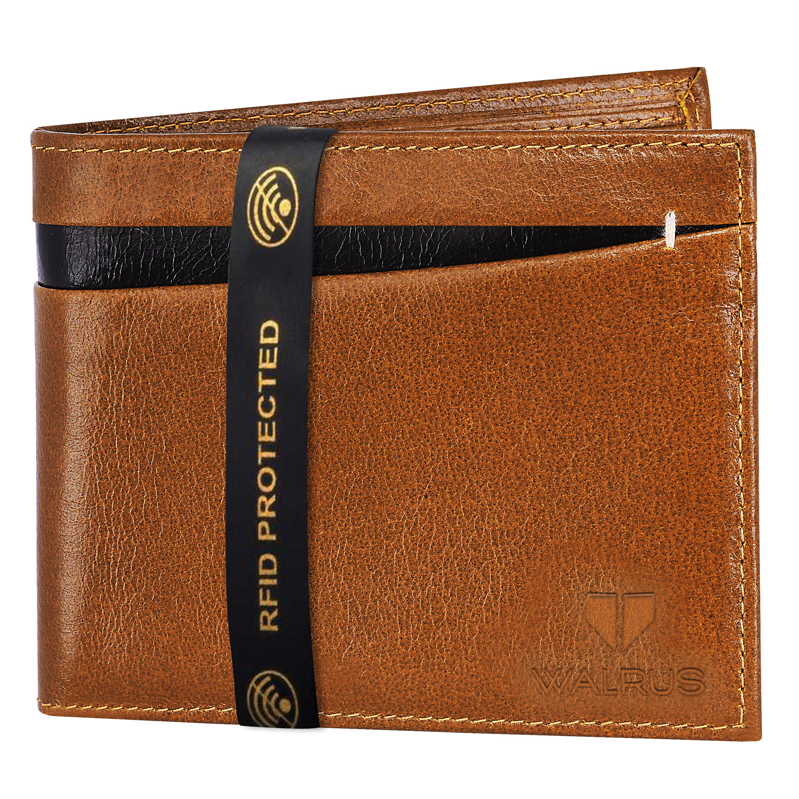 Walrus | Walrus Elite III Beige Premium Genuine Leather Men Wallet With RFID Protection.