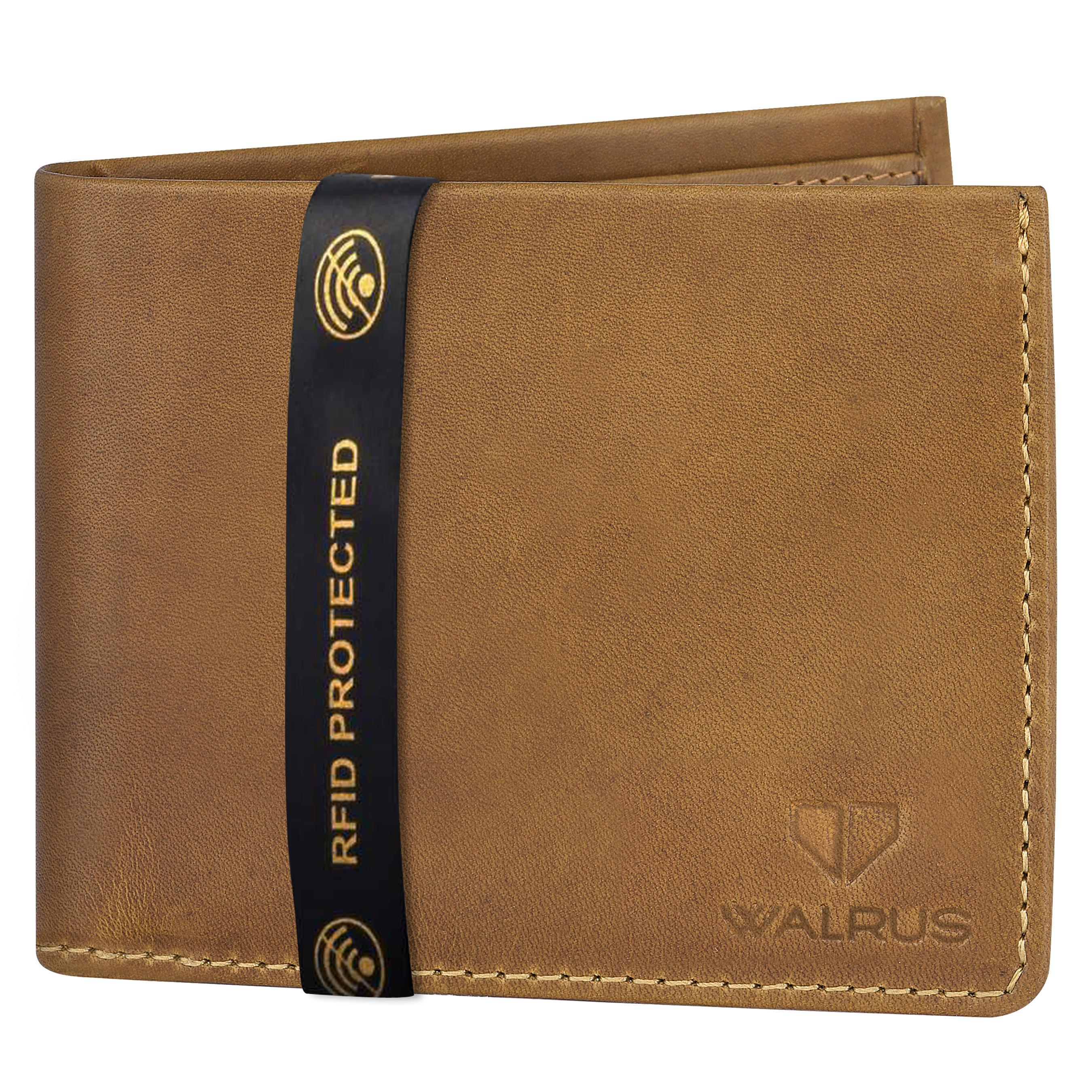 Walrus | Walrus Elite VIII Beige Premium Genuine Leather Men Wallet With RFID Protection.