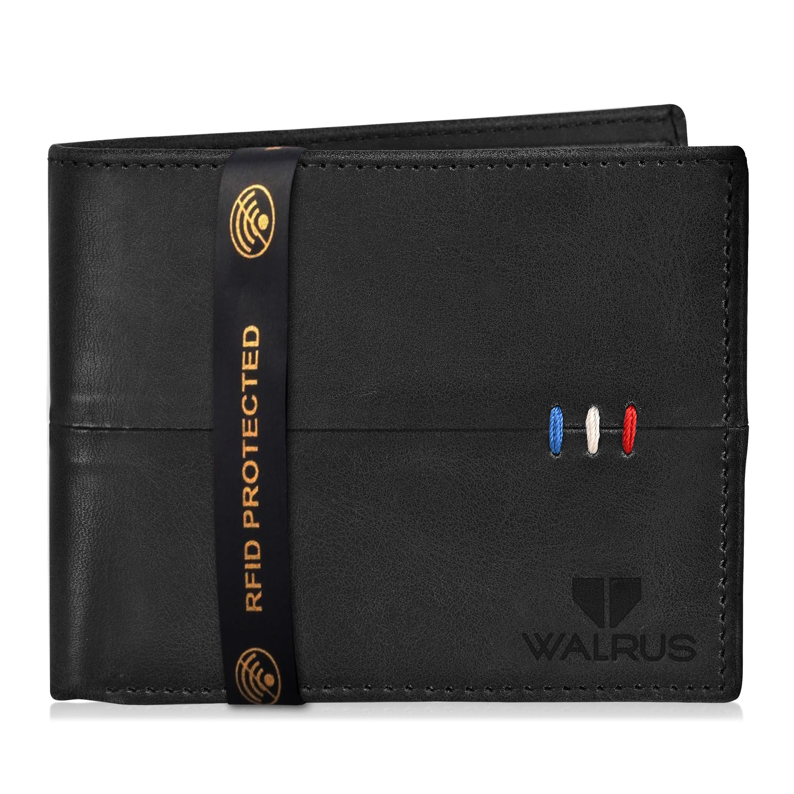 Walrus | Walrus Daniel-II Black Vegan Leather Men Wallet With RFID Protection.