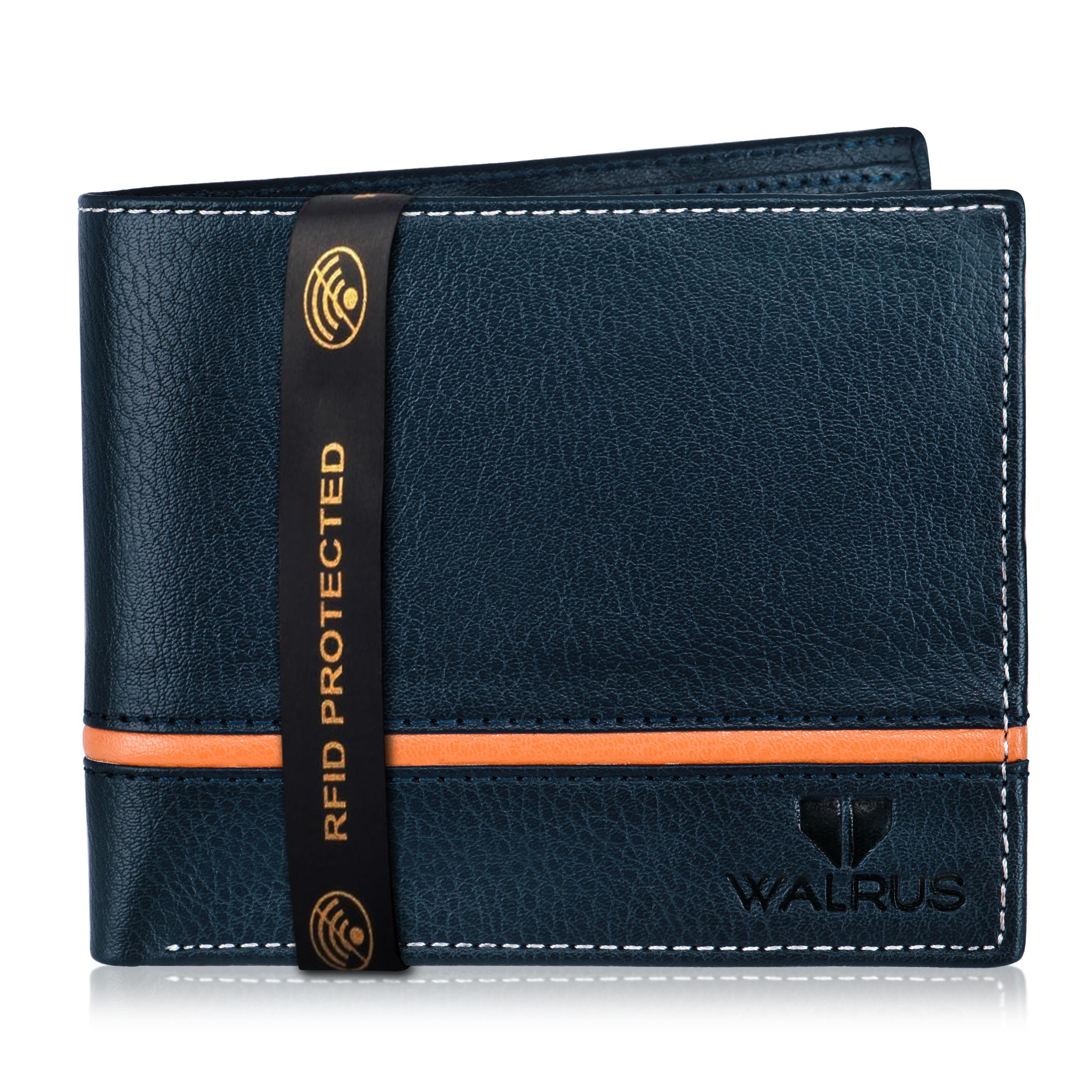 Walrus | Walrus Duke-III Blue Leather Men Wallet With RFID Protection.