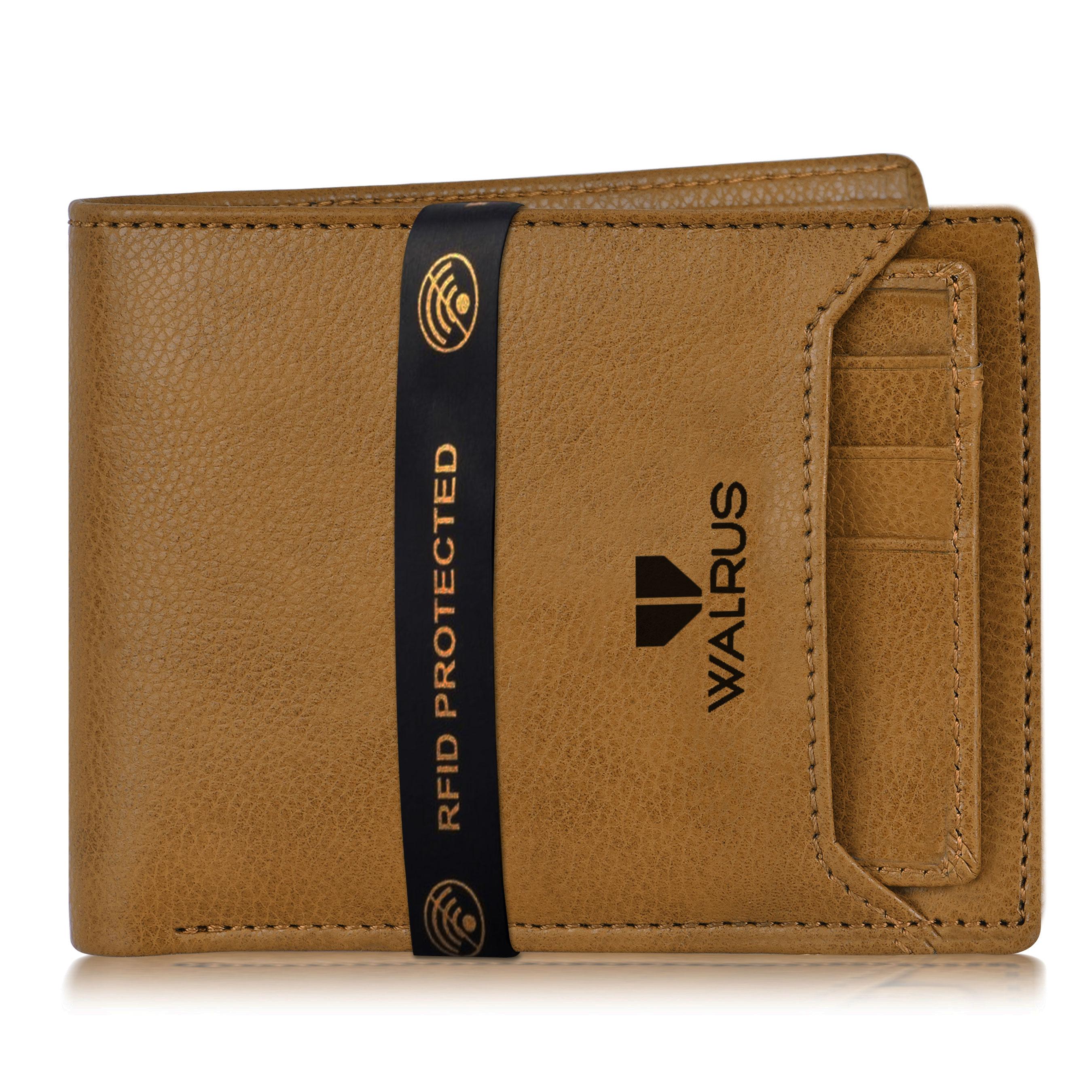Walrus   Walrus Duke-VI Beige Vegan Leather Men Wallet With RFID Protection.