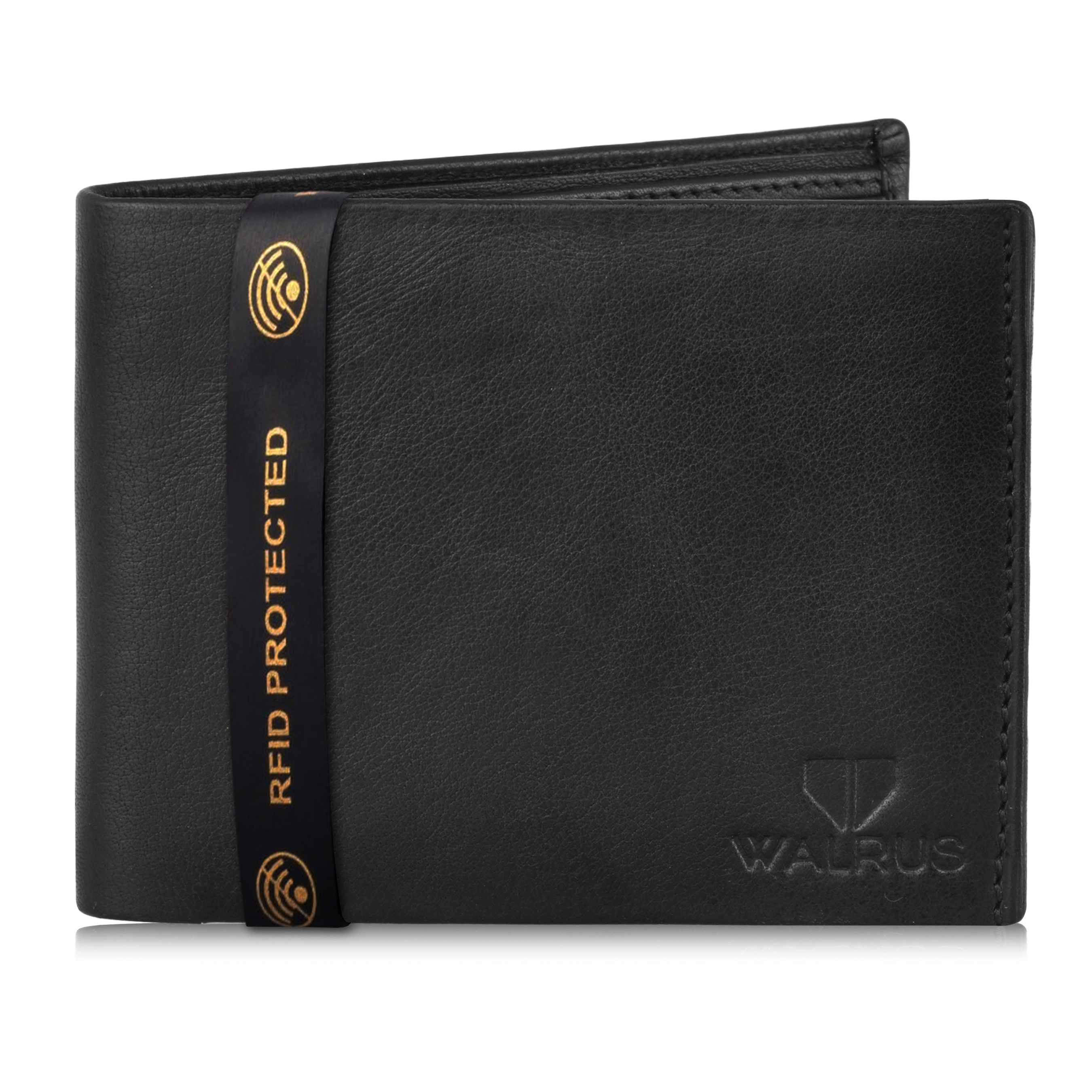Walrus | Walrus Imperial-VI Black Leather Men Wallet With RFID Protection.