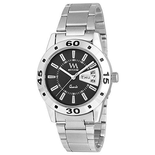 Watch Me | Watch Me Black Dial Silver Stainless Steel Strap Day and Date Collection Series Analog Quartz Watch for Women and Girls DDWM-009-BK For Women