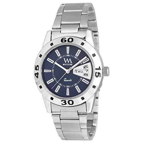 Watch Me | Watch Me Blue Dial Silver Stainless Steel Strap Day and Date Collection Series Analog Quartz Watch for Women and Girls DDWM-009-Bu For Women