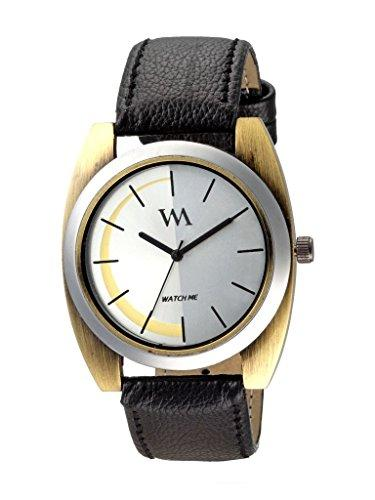 Watch Me | Watch Me White Dial Black Leather Strap Analog Watch for Men and Boys WMAL-245 For Men