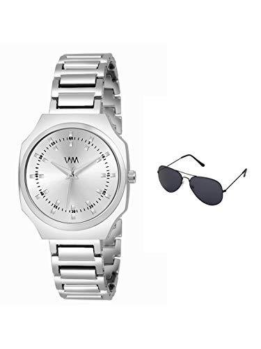 Watch Me | Watch Me Silver Stainless Steel Silver Dial Watch For Women with Free Sunglasses WMAL-370-wmg-002 For Women