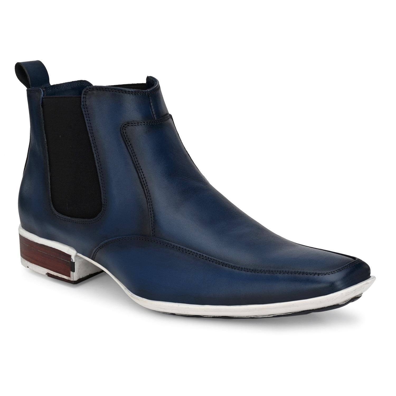 Hitz | Hitz Blue Slip-On Leather Boots For Men