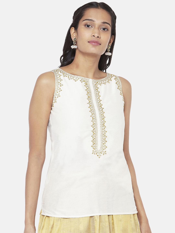 Ethnicity | Silk Blend Sleeveless Straight Women Off White Crop Top