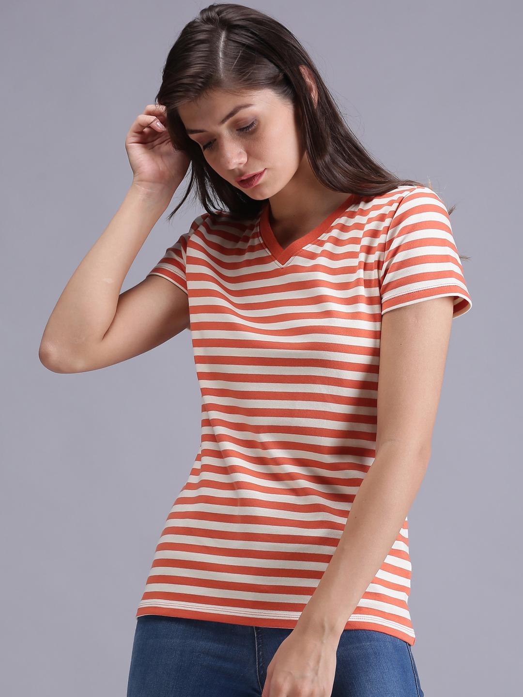 UrGear | UrGear Striped Men Round Neck Orange & White T-Shirt
