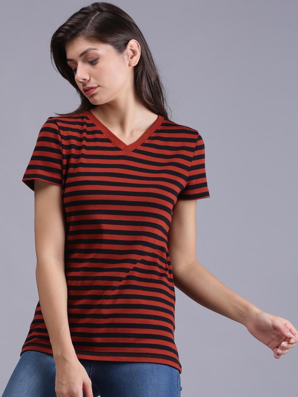 UrGear | UrGear Striped Men Round Neck Red & Black T-Shirt