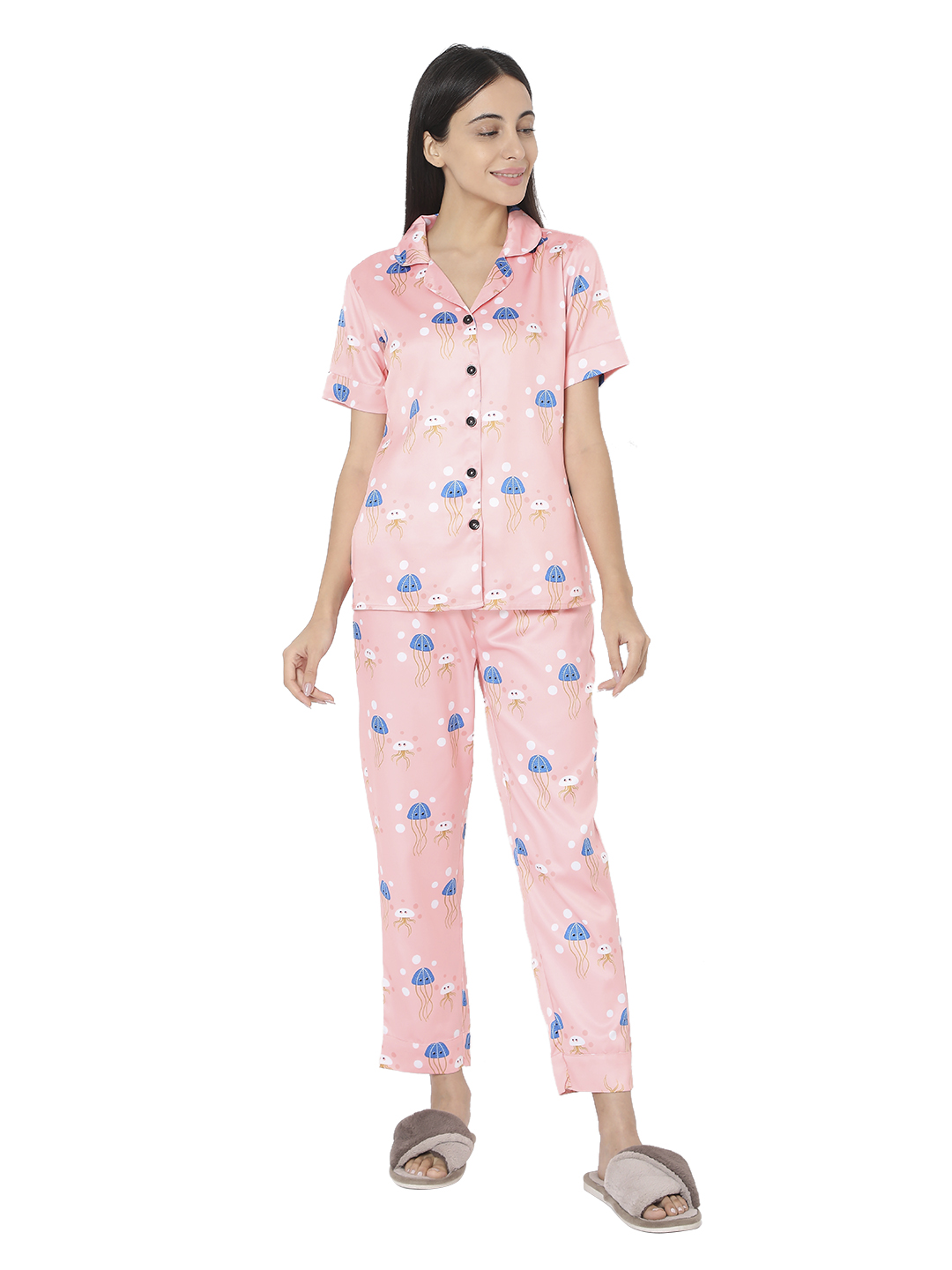 Smarty Pants   Smarty Pants women's silk satin pastel pink color jelly fish print night suit.