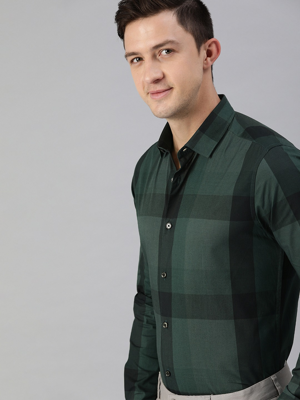 The Bear House   Men's Green Checkered Formal Shirt