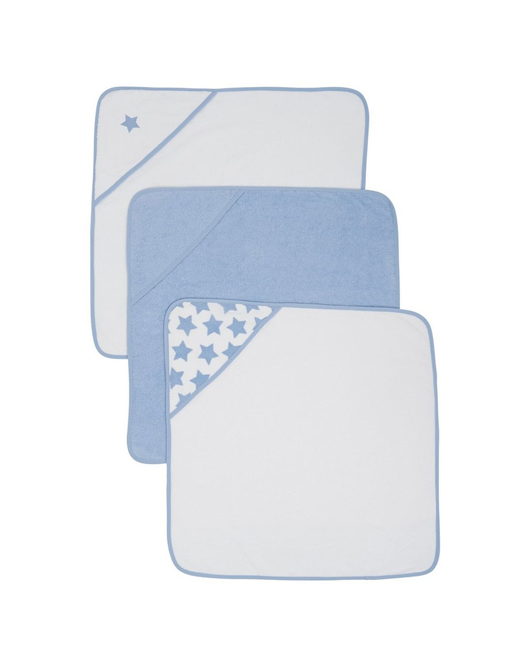Mothercare   Blue Cuddle 'N' Dry Hooded Towels - Pack of 3