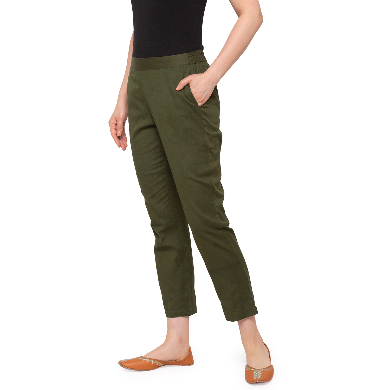 Ethnicity   Ethnicity Women Olive Cotton Pants