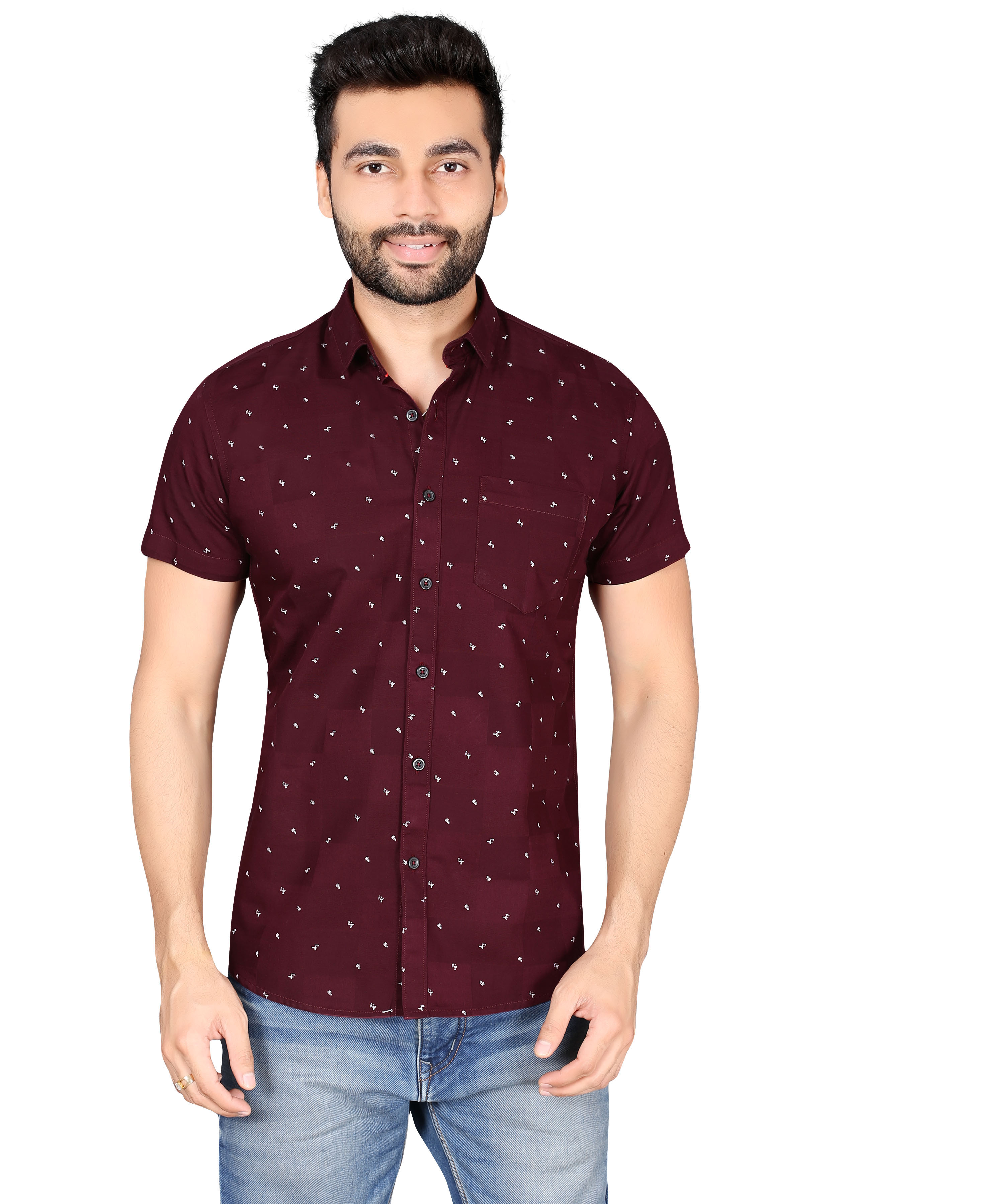 5th Anfold | FIFTH ANFOLD Printed casual pure cotton hlf  sleev spread collar maroon shirt