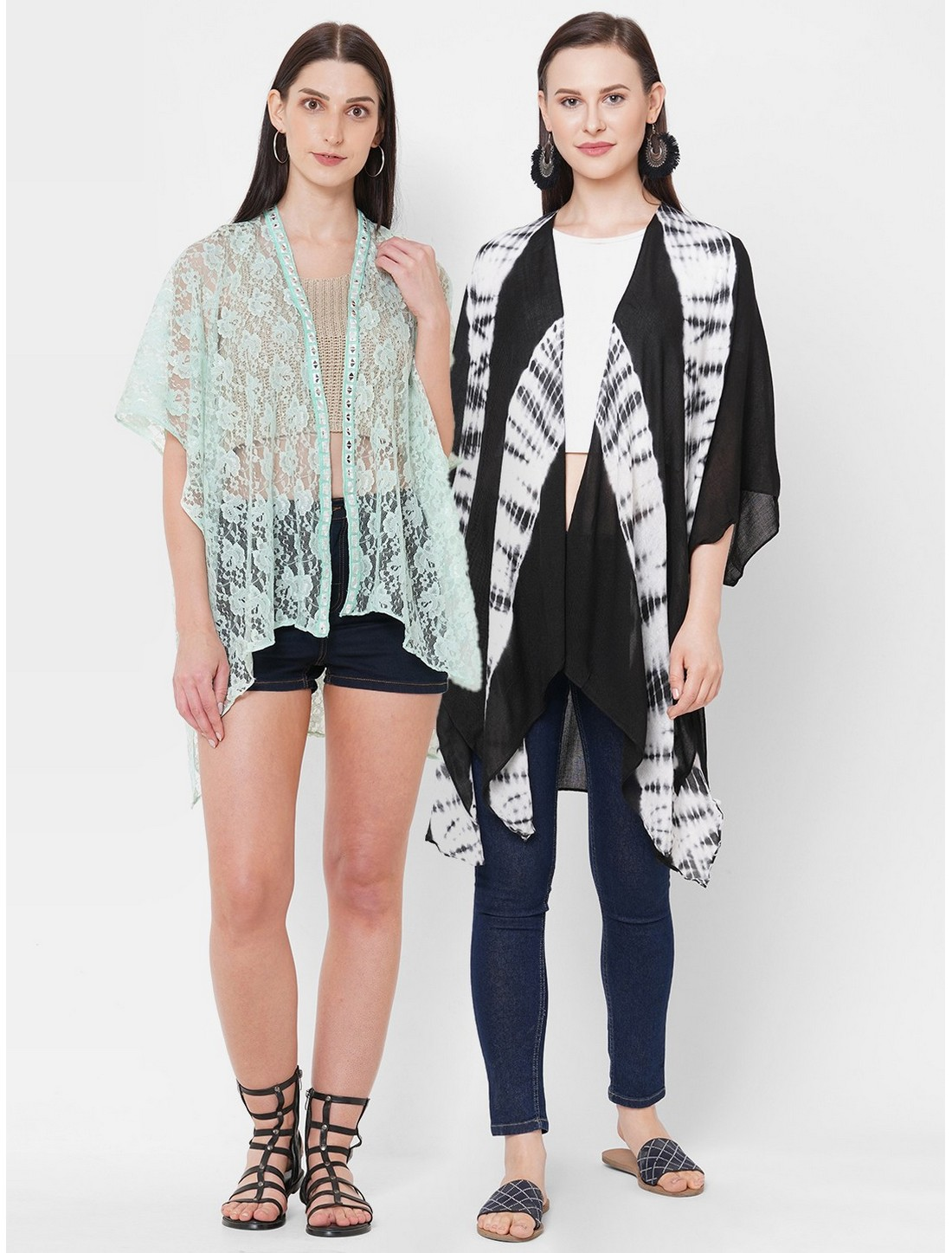 Get Wrapped | Get Wrapped Net Fabric & Viscose Tie-Dye Kimono Combo for Women - Combo Pack of 2