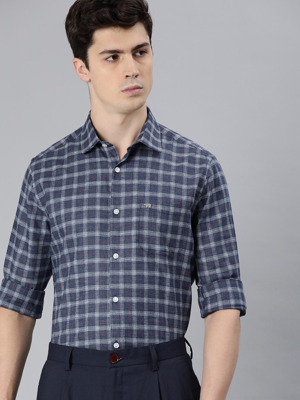 The Bear House | Men's Blue Checkered Formal Shirt
