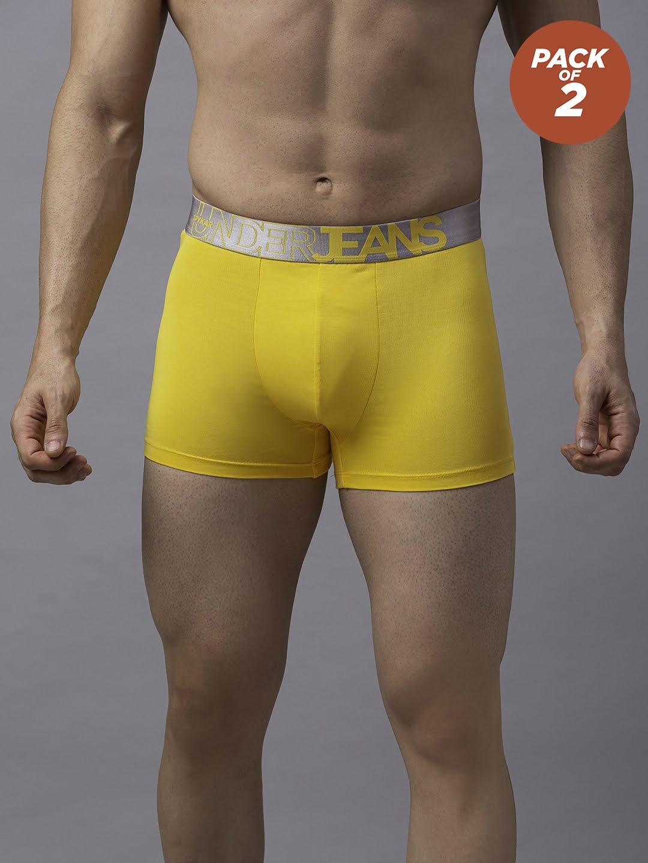 Spykar | Underjeans By Spykar Yellow Cotton Trunks - Pack of 2