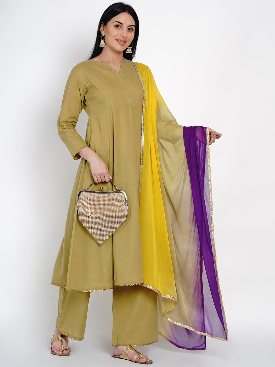 Fabnest   Fabnest Womens Cotton Olive Flared Kurta And Pant Set With Gota Edging And Tie And Dye Dupatta With Gota
