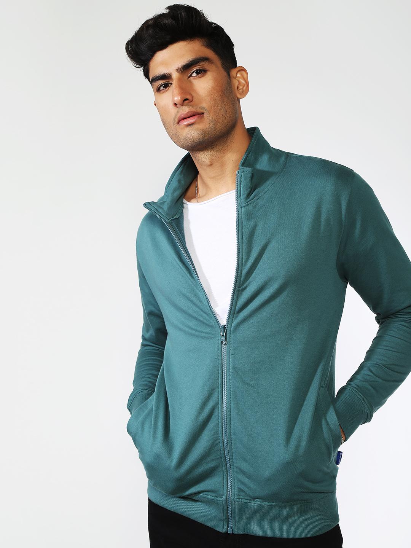 Blue Saint | Blue Saint Men's Green Regular Fit Sweatshirts