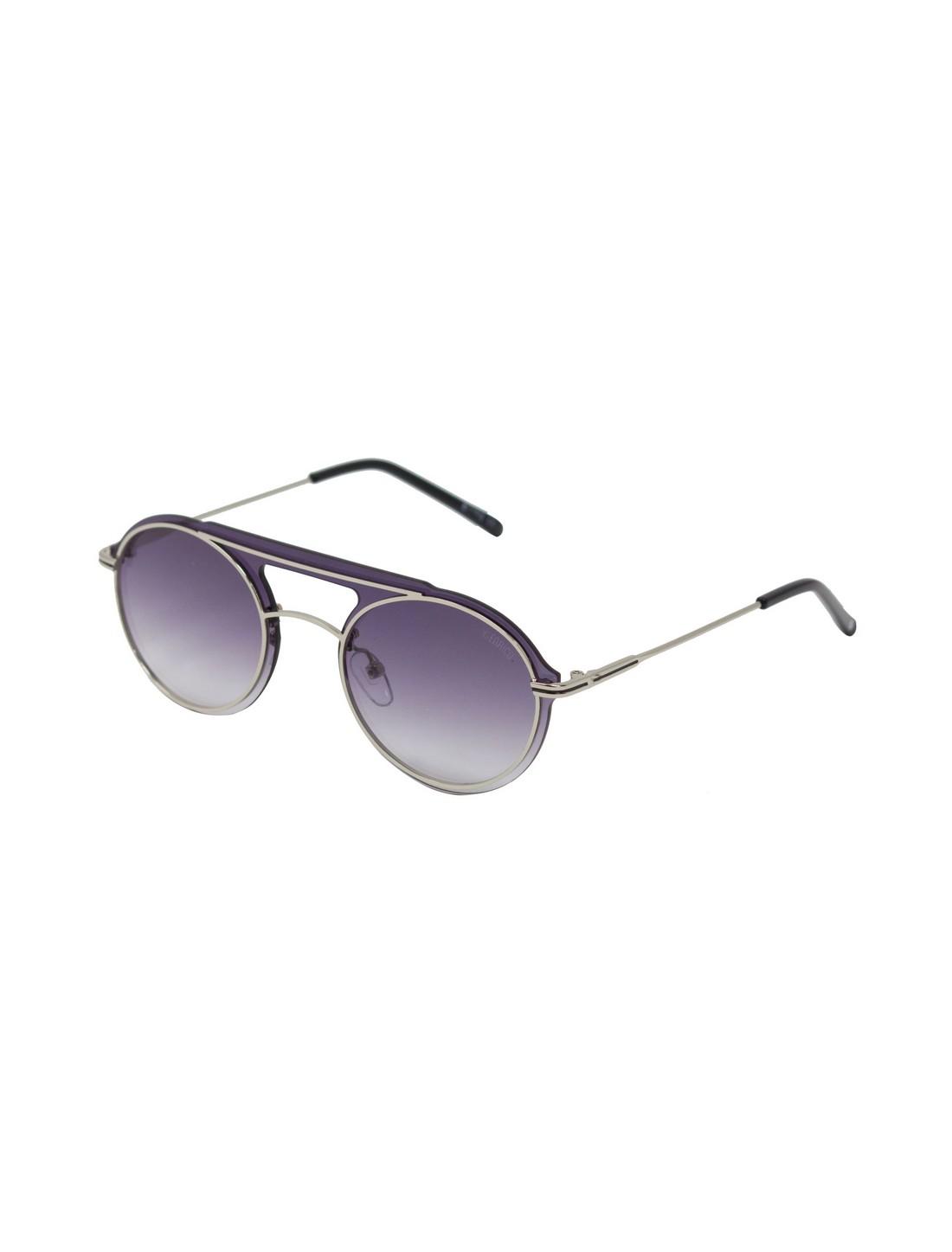 ENRICO | ENRICO Stargazer UV Protected Round Unisex Sunglasses ( Lens - Purple | Frame - Silver-Toned)