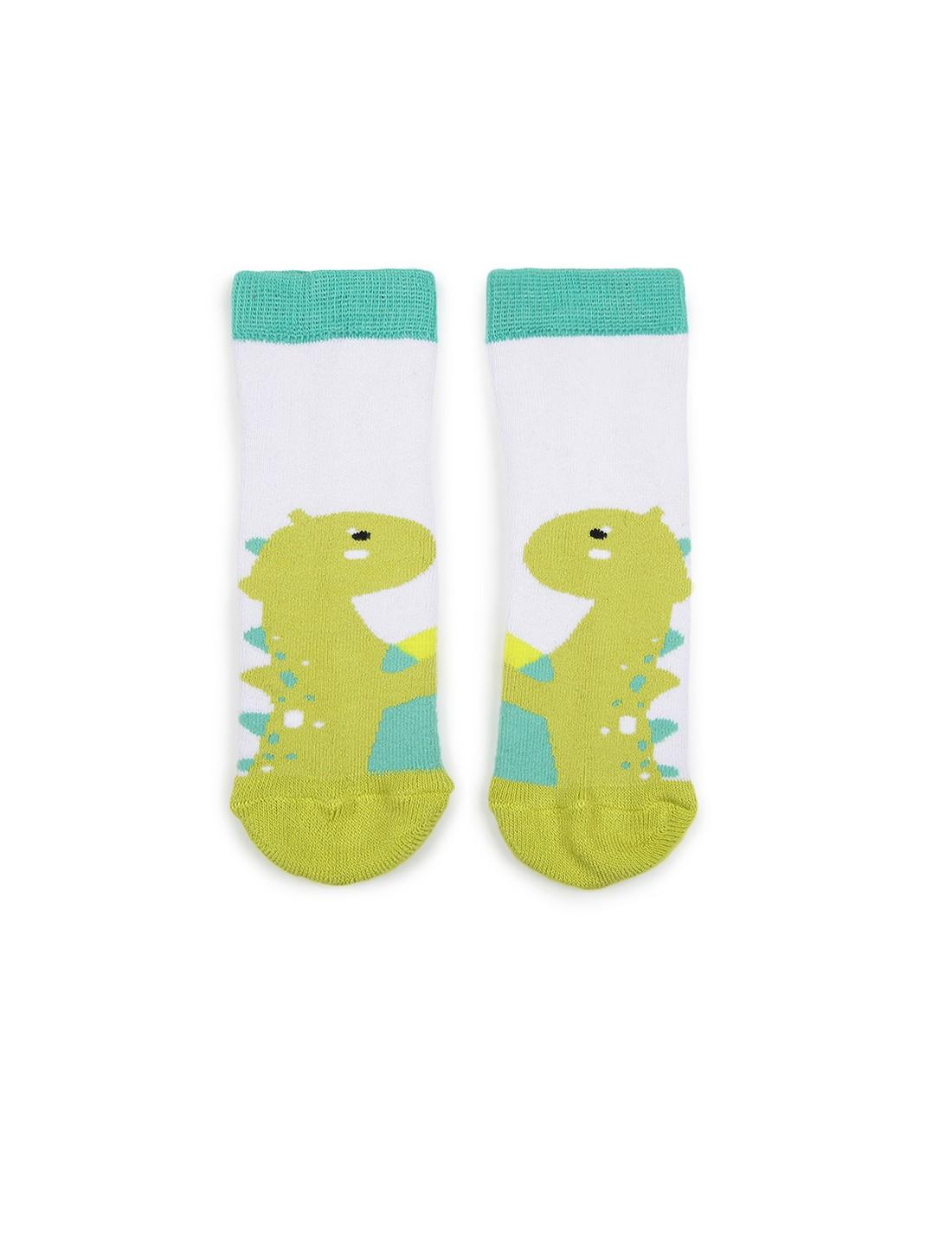 Soxytoes | Soxytoes Dinosaur Cotton Crew Length White Kids Socks-Age (2-4 Years)