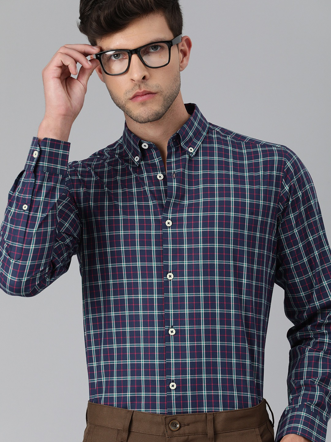 The Bear House   Men Blue & Red Slim Fit Checked Giza Cotton Formal Shirt