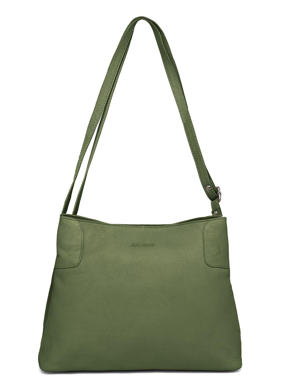 WildHorn | WildHorn Upper Grain Genuine Leather Ladies Shoulder, Cross-body, Hand Bag with Adjustable Strap - Green