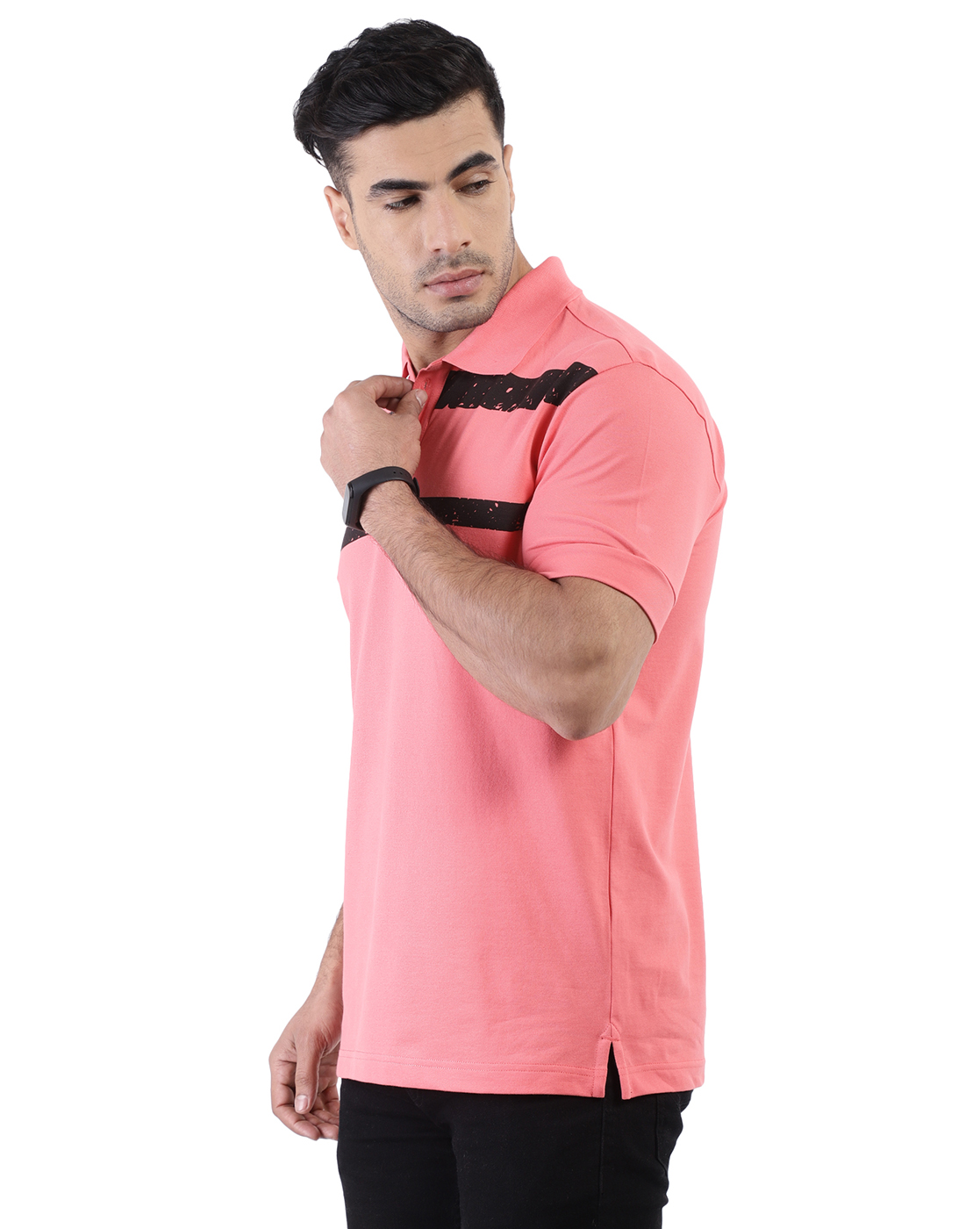 YOONOY | men slim fit polo tee with rib detail at sleeve, stripe print at chest and side slit