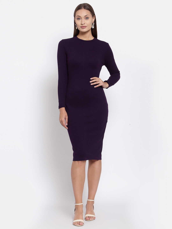 YOONOY | YOONOY WOMEN HIGH NECK RIB DRESS WITH BACK SLIT
