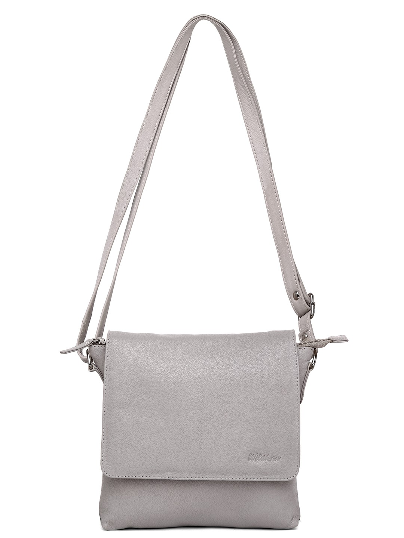 WildHorn | WildHorn Upper Grain Genuine Leather Ladies Sling, Cross-body, Hand Bag with Adjustable Strap - Grey