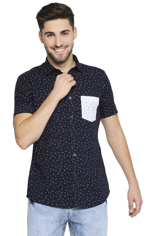EVOQ | EVOQ Half Sleeves Cotton Blue Printed Semi-Casual Shirt with Stylish Pocket for Men