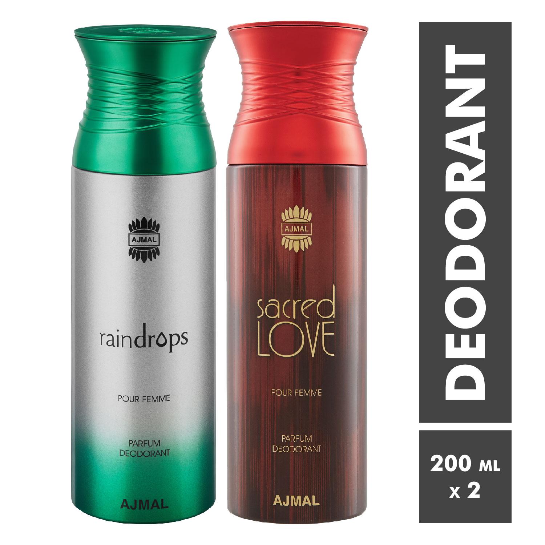 Ajmal | Raindrops and Sacred Love Deodorant Spray - Pack of 2