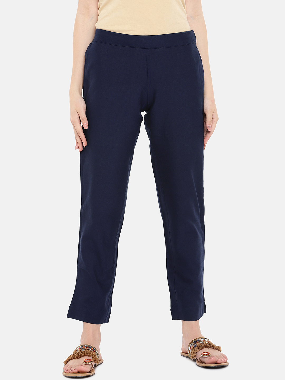 Ethnicity | Ethnicity Navy Flax Women Pants