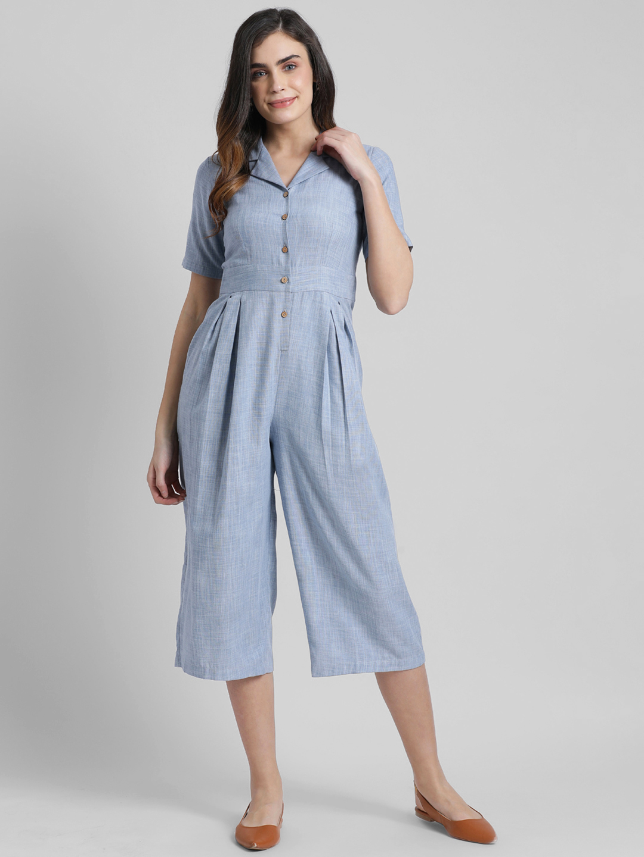 Zink London | Zink London Women's Blue Solid Basic Jumpsuit